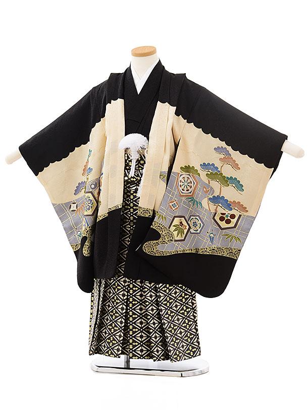 七五三レンタル(5歳男児袴)5559(正絹)黒地松に兜×黒ゴールド袴