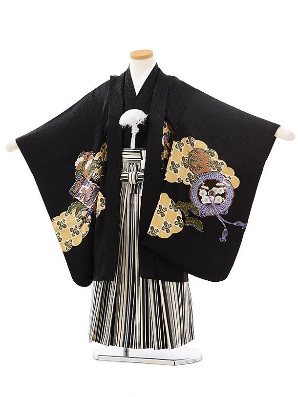 七五三レンタル(5歳男児袴)5561(正絹)黒地小槌かぶと×ベージュ縞袴