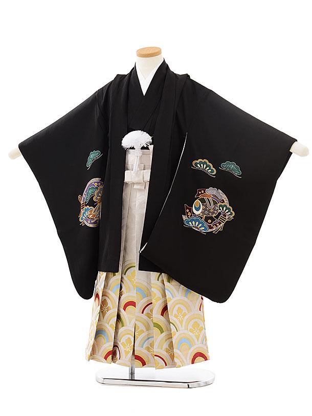 七五三レンタル(5歳男児袴)5562(正絹)黒地波に宝舟×白波袴