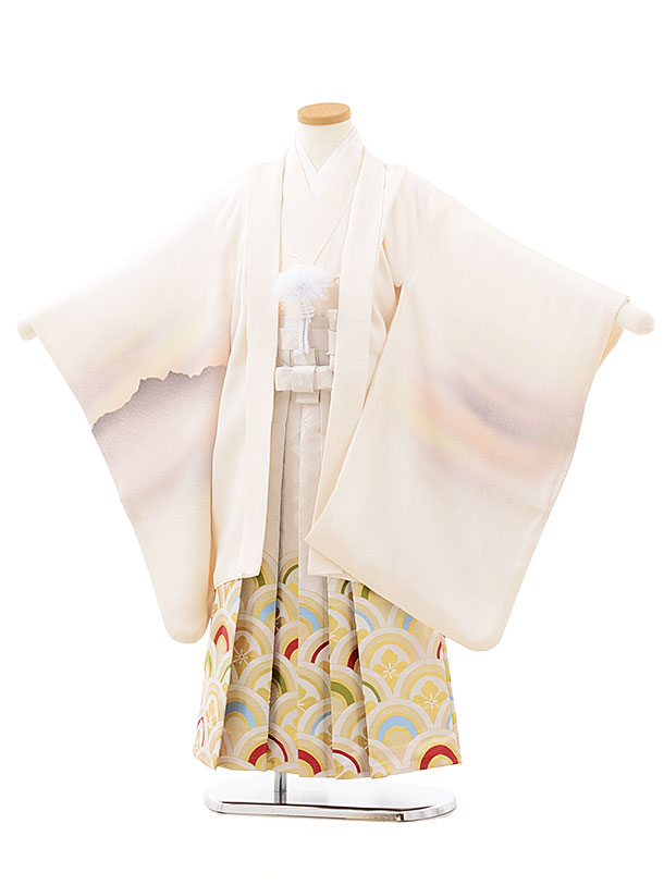 七五三レンタル(5歳男児袴)5564(正絹)白地霞に兜×白波袴