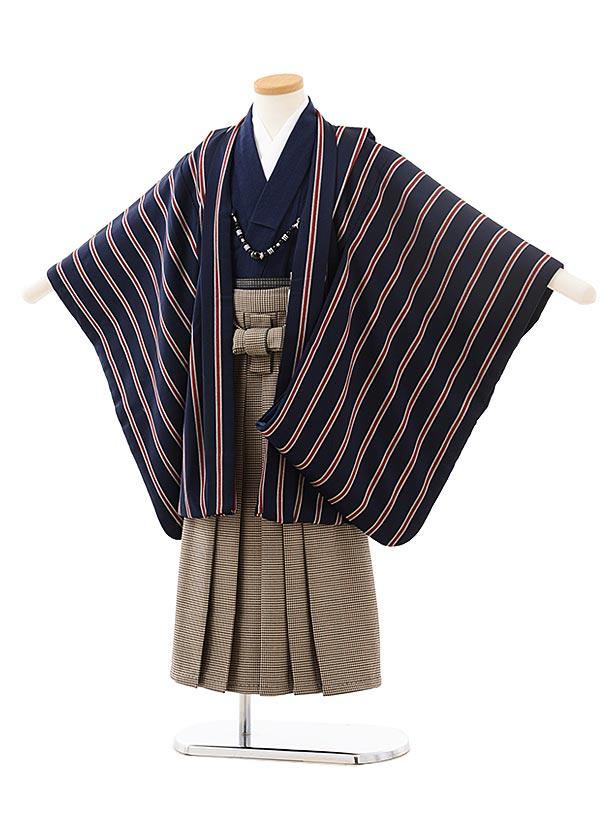 かんたん七五三レンタル(5男袴)5568 紺赤ストライプ×チェック袴