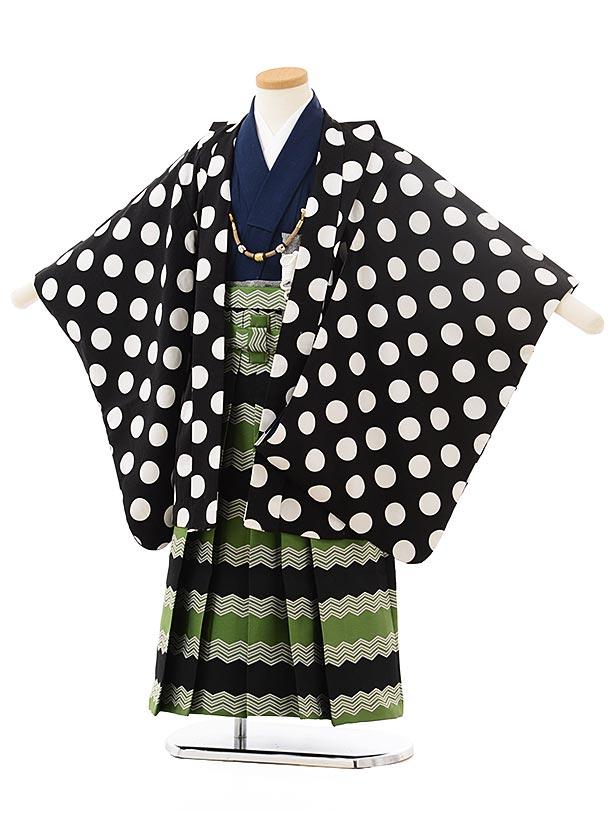 かんたん七五三レンタル(5男袴)5572 黒地白ドット×緑黒袴