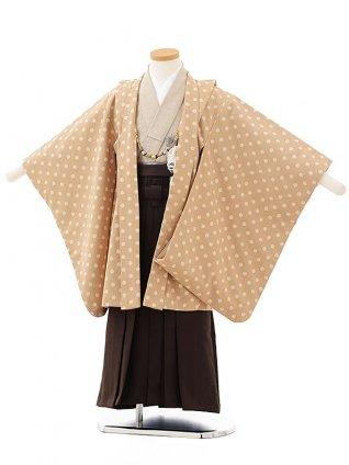 かんたん七五三レンタル(5男袴)5573 ベージュ白ドット×濃茶袴
