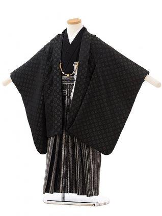 かんたん七五三レンタル(5男袴)5578おりびと黒地獅子毛文様×黒シルバー縞袴