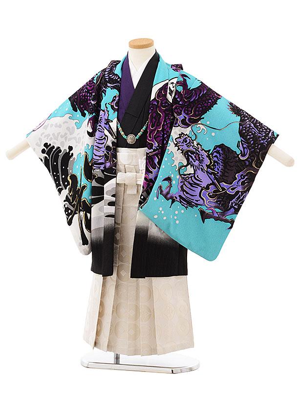 七五三レンタル(5歳男の子袴)5580ブルー地紫龍×白袴
