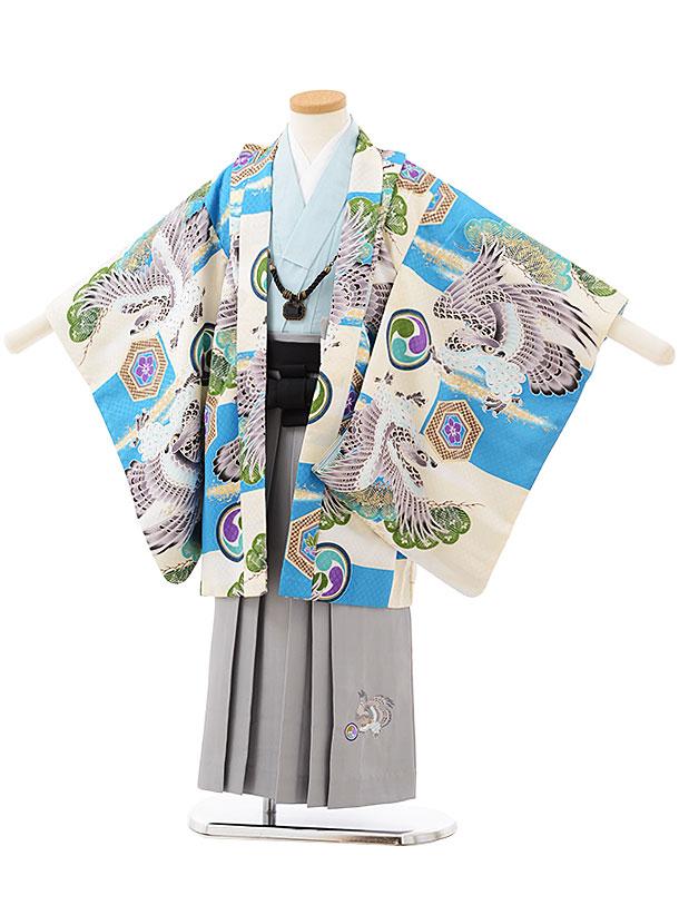 七五三レンタル(5歳男の子袴)5581水色市松に鷹×グレー刺繍袴