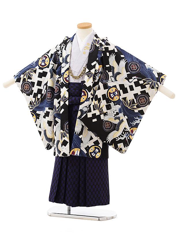 かんたん七五三レンタル(5歳男の子袴)5585 白黒丸紋に波鶴×黒紫袴