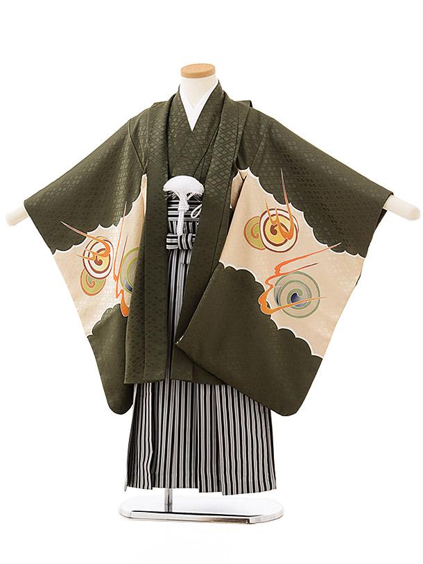 七五三レンタル(5歳男児袴)5587(正絹)モスグリーン地 龍×黒白縞袴