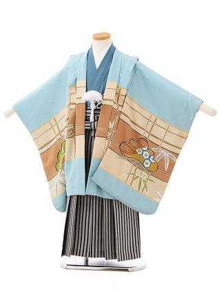 七五三レンタル(5歳男児袴)5588(正絹)水色地 松に宝尽し×黒白縞袴