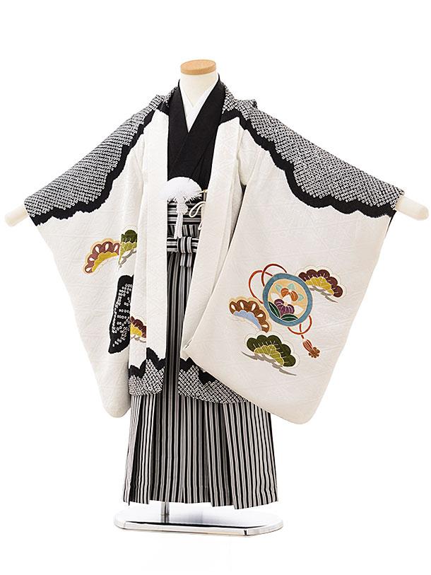 七五三レンタル(5歳男児袴)5590(高級正絹)白地黒絞り 鷹に宝尽し×黒白縞袴
