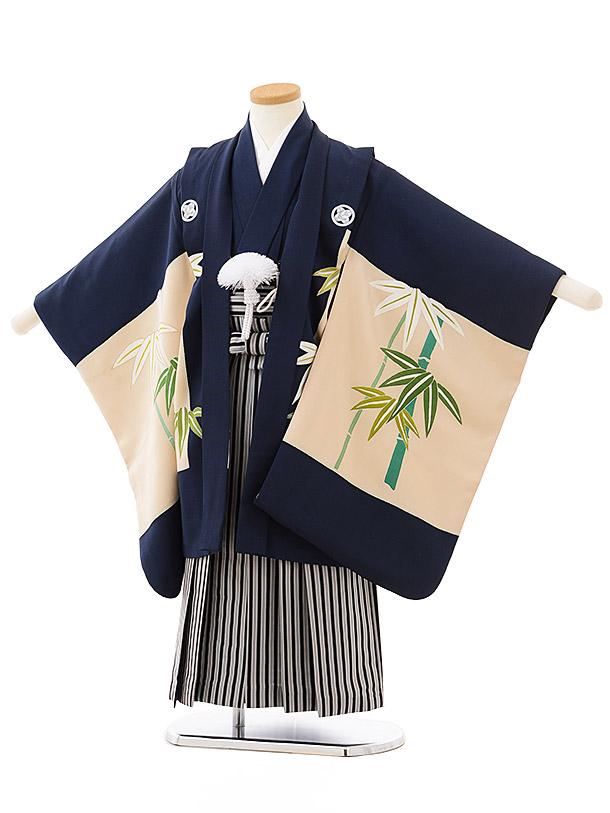 七五三レンタル(5歳男児袴)5591(高級正絹)紺地 五ツ紋 竹×黒白縞袴