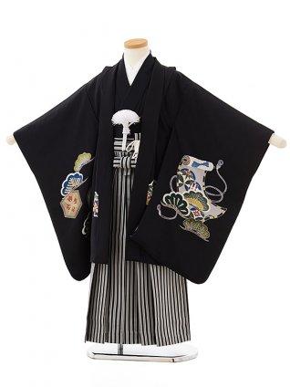 七五三レンタル(5歳男児袴)5592(正絹)黒地