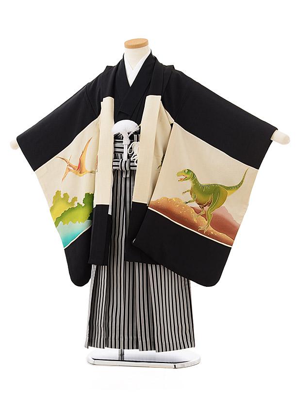 七五三レンタル(5歳男児袴)5593(高級正絹)黒地 恐竜×黒白縞袴