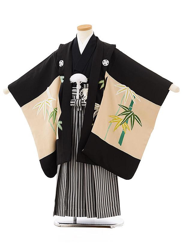 七五三レンタル(5歳男児袴)5594(高級正絹)黒地 五ツ紋 竹×黒白縞袴