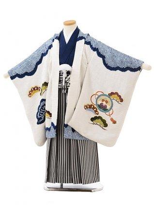 七五三レンタル(5歳男児袴)5595(高級正絹)白地 紺絞り鷹×黒白縞袴