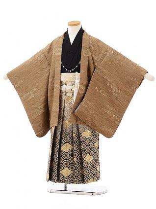 七五三レンタル(5歳男の子袴)5597濃ベージュかすみ柄×黒ぼかし袴