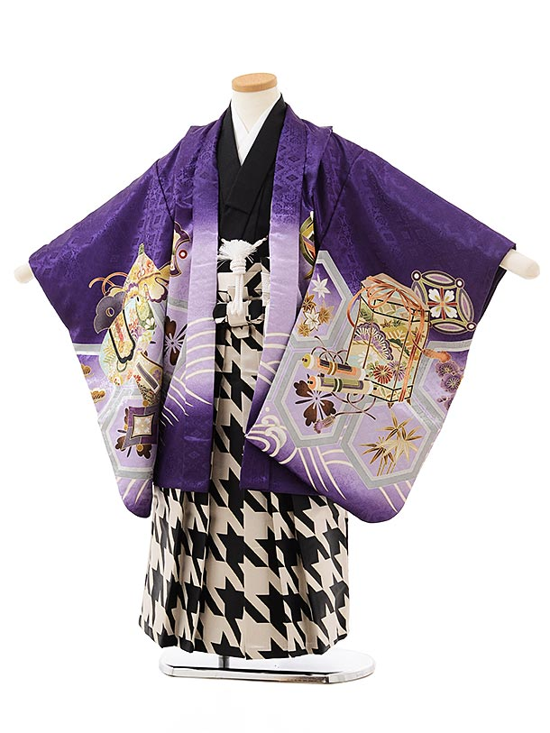 七五三レンタル(5歳男の子袴)5601紫地熨斗に鷹×黒ベージュ千鳥袴
