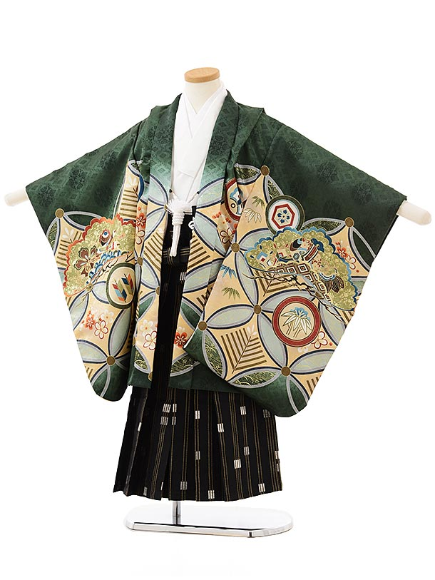七五三レンタル(5歳男の子袴)5604グリーン地七宝かぶと×黒金縞袴