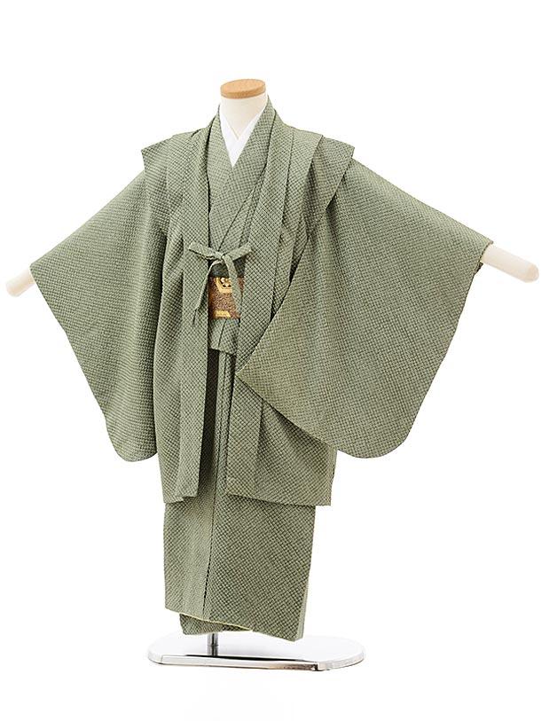 七五三レンタル(5歳男児)5606(高級正絹 総絞り)ヒワ色絞りアンサンブル