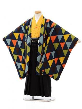 七五三レンタル(5歳男児袴)5619 紺地幾何学模様×黒袴
