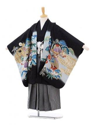 かんたん七五三レンタル(5歳男の子袴)5622黒色鷹にのし×白黒縞袴
