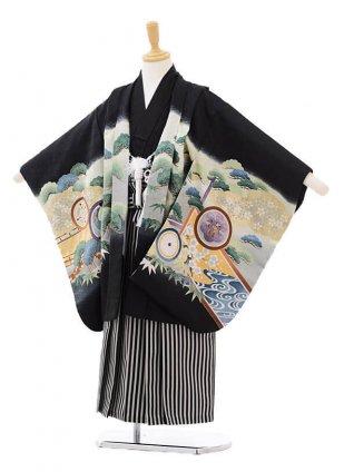 かんたん七五三レンタル(5歳男の子袴)5623黒地かぶとに丸紋×白黒袴
