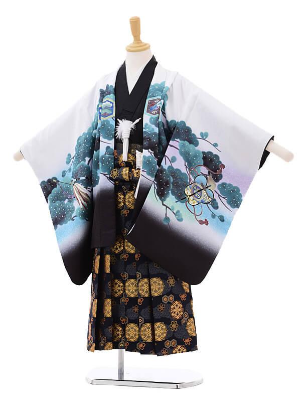 かんたん七五三レンタル(5歳男の子袴)5630白黒ぼかしかぶと×紺袴