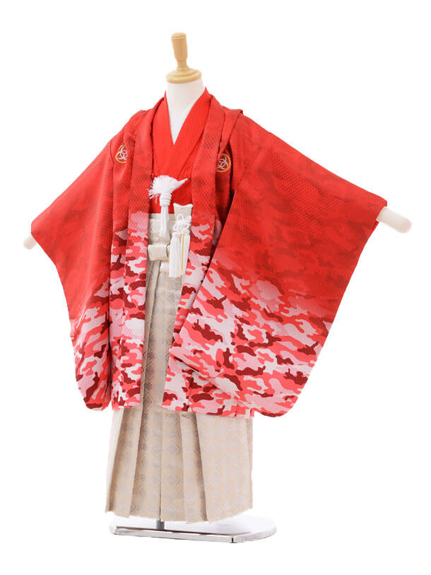 かんたん七五三レンタル(5歳男の子袴)5631カモフラ柄赤×クリーム色袴