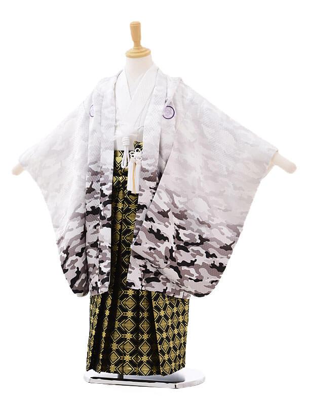 かんたん七五三レンタル(5歳男の子袴)5632カモフラ柄白×黒ゴールド袴