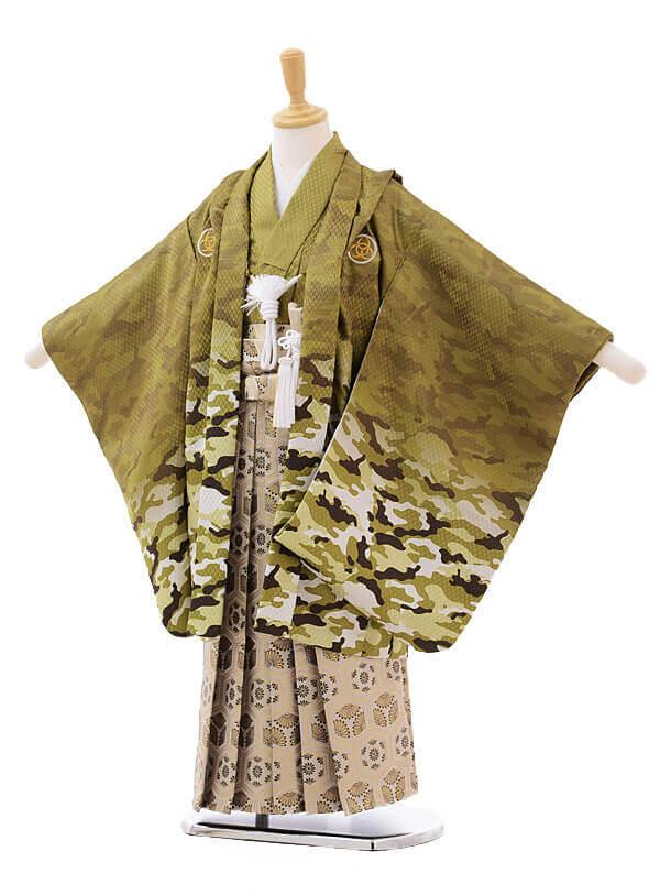 かんたん七五三レンタル(5歳男の子袴)5633カモフラ柄グリーン×グレー袴