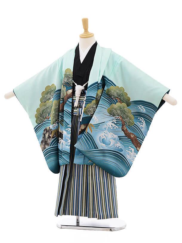 かんたん七五三(5歳男の子袴)5638パステルグリーン地波松鷹×青緑縞袴