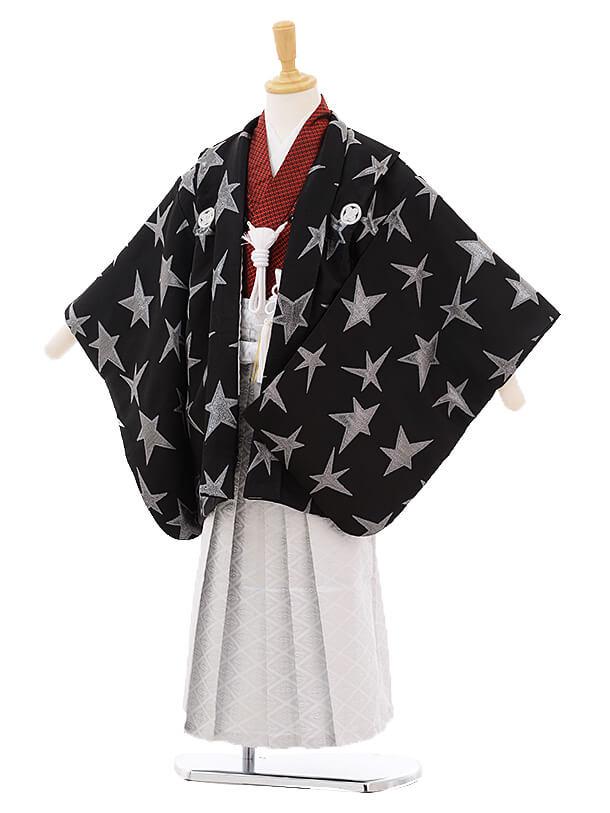 かんたん七五三レンタル(5歳男の子袴)5639黒シルバー星紋付×白地袴