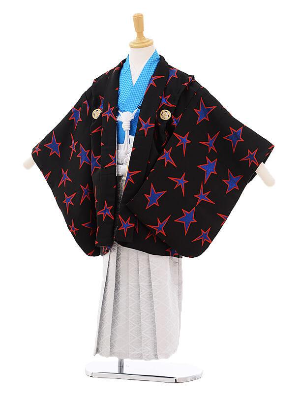 かんたん七五三レンタル(5歳男の子袴)5640黒ブルー星紋付×白地袴