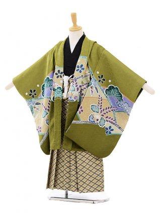 かんたん七五三(5歳男の子袴)5642緑地桐小槌に鷹場×ベージュに紺柄袴