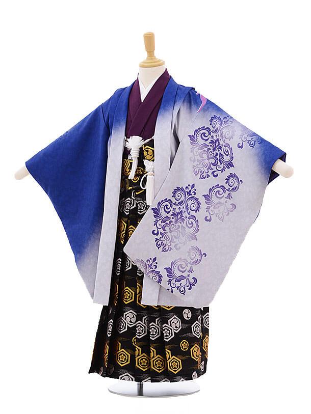 かんたん七五三(5歳男の子袴)5643 ブルーぼかし フェニックス×黒地袴