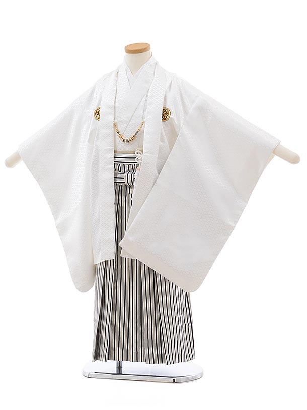 かんたん七五三レンタル(5歳男児袴)5650 白紋付×白黒 縞袴