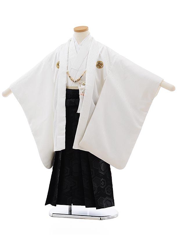 かんたん七五三レンタル(5歳男児袴)5651 白紋付×黒 亀甲袴