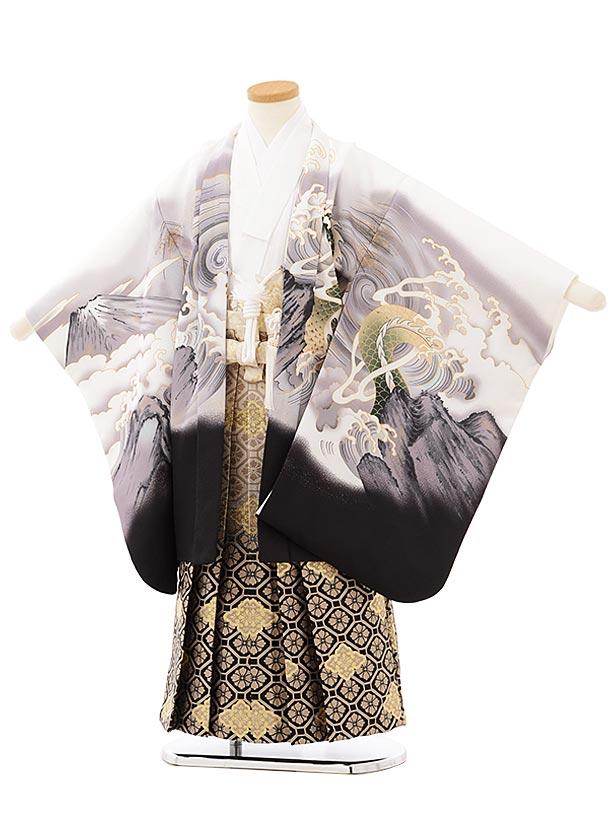 七五三レンタル(5歳男児袴)5652 白地富士波に龍×ベージュ黒ぼかし菱袴