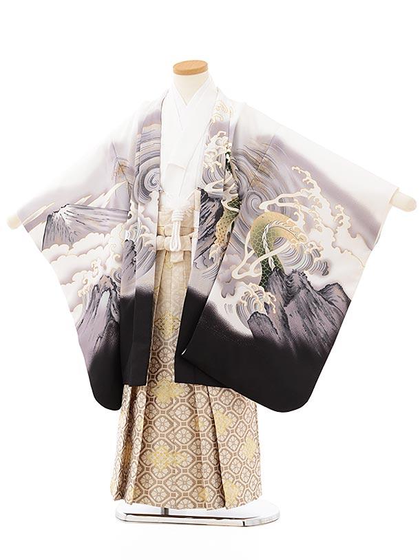 七五三レンタル(5歳男児袴)5653 白地富士波に龍×ベージュぼかし菱袴