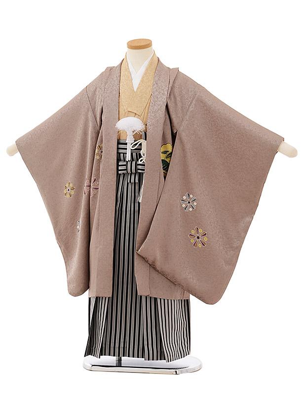 七五三レンタル(5歳男袴)5662【高級正絹】 ベージュ雪輪x黒縞袴