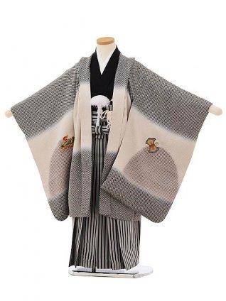 七五三(5歳男袴)5664【高級正絹】 黒疋田柄刺繍兜×縞袴