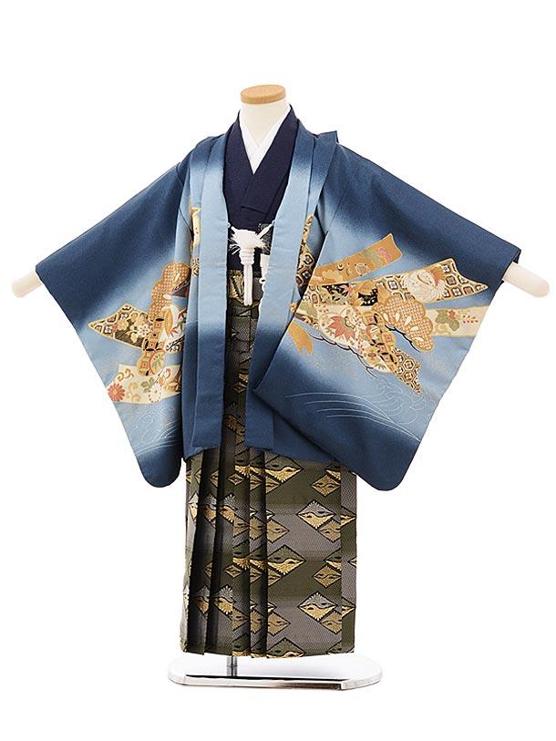 かんたん七五三レンタル(5歳男袴)5665紺地のしにかぶとxグリーンぼかし袴
