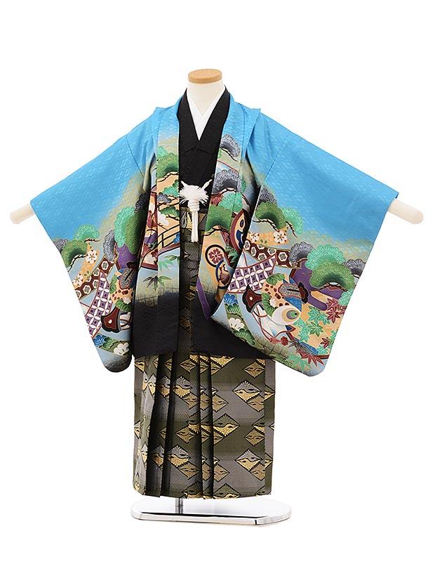 かんたん七五三レンタル(5歳男袴)5666ブルー地裾黒のしに鷹xグリーンぼかし袴