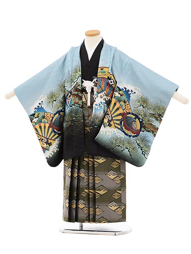 かんたん七五三レンタル(5歳男袴)5669ブルーグレー裾黒兜xグリーンぼかし袴