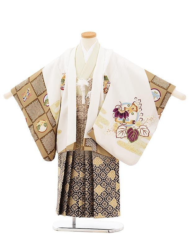 かんたん七五三レンタル(5歳男袴)5674白地丸紋小槌にかぶとx黒ぼかし菱袴