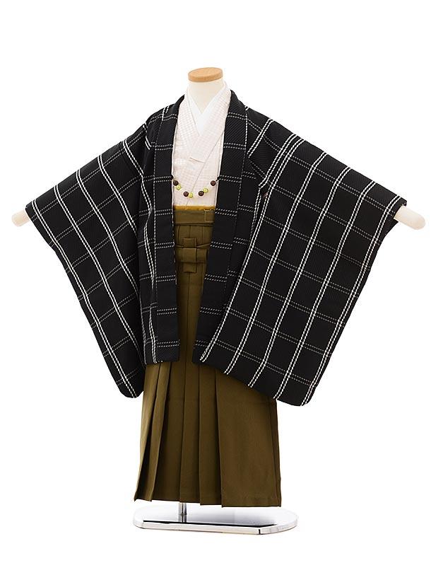 かんたん七五三レンタル(5歳男袴)5675紺チェックx茶色袴