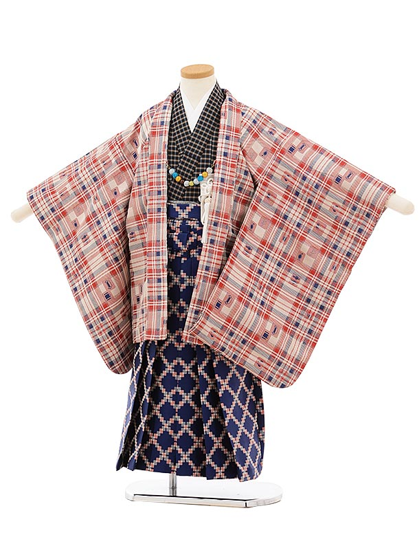 かんたん七五三レンタル(5歳男袴)5676チェックピクト模様x紺袴