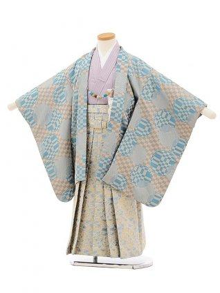 かんたん七五三レンタル(5歳男袴)5678ベージュ市松水色雪輪xゴールド水色袴