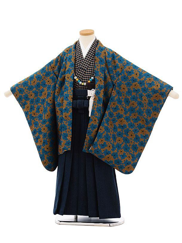 七五三レンタル(5歳男袴)5680ターコイズからし花xデニム袴