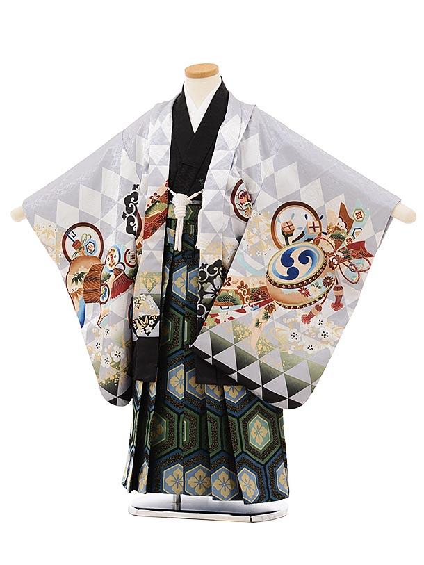 かんたん七五三レンタル(5歳男袴)5681薄グレー地うろこ柄かぶとx黒亀甲袴